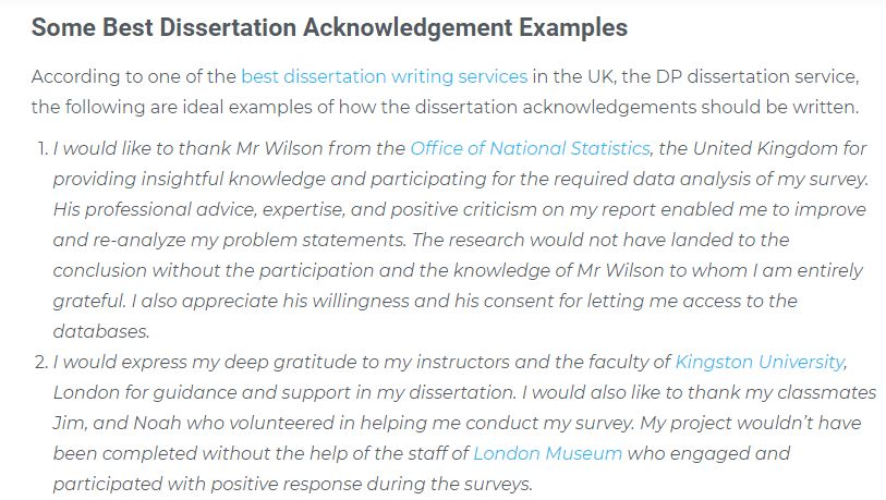 Dissertation Acknowledgement Examples