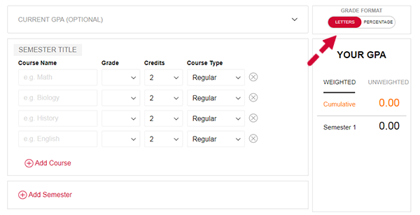 Select the Grade Format
